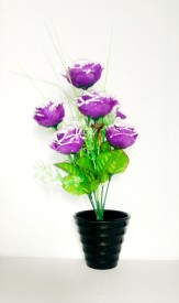 KAYKON Melamine Pot Purple Rose Artificial Flower  with Pot