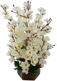 V Creations White Assorted Artificial Flower with Pot