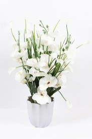 om potters White, Green Iris Artificial Flower  with Pot