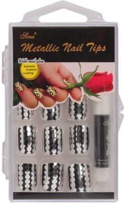 Nail Sina Artificial Nails Nail Sina Metallic Nail Tips Silver, Black
