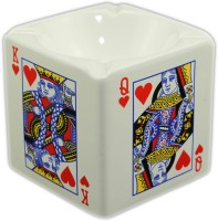 Importwala Ceramic Heart Playing Card Ashtray White, Red Ceramic Ashtray (Pack Of 1)