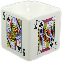 Importwala Clubs Ceramic Playing Card Ashtray White, Black Ceramic Ashtray (Pack Of 1)