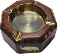 S C Handicrafts Brown, Gold Wooden, Brass Ashtray (Pack Of 1)
