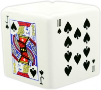Importwala Ceramic Spade Playing Card Ashtray White, Black Ceramic Ashtray (Pack Of 1)