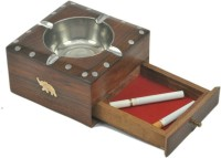 Handicraft SHEESHAM WOOD MADE ASH TRAY WITH A DRAWER TO PUT MATCHSTICK IN IT Brown Wooden Ashtray (Pack Of 1)
