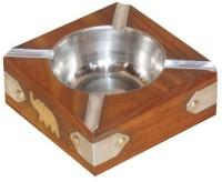 Zuniq Brown, Steel Wooden, Steel, Brass Ashtray (Pack Of 1)