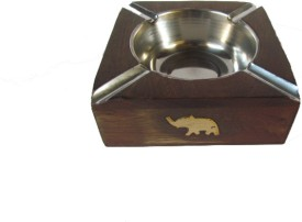 S C Handicrafts Ash Tray Brown, Steel Wooden, Steel, Brass Ashtray - Pack Of 1