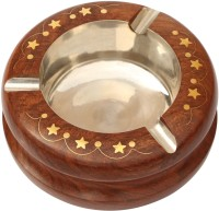 Woodsmith Round-Shaped Brown Wooden, Stainless Steel Ashtray (Pack Of 1)