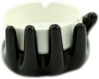 Importwala Ceramic Black Hand Ashtray White, Black Ceramic Ashtray (Pack Of 1)