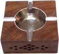 Afordia Brown, Silver Wooden, Steel Ashtray (Pack Of 1)