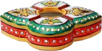HD Techno Crafts Kundan Work Ash Tray 4 Inch Multicolor Marble Ashtray (Pack Of 1)