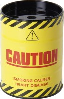 Taino Caution Drum Can Yellow, Red Stainless Steel Ashtray (Pack Of 1)