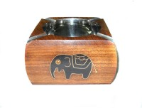 Crafts Paradise Black Elephant Design Multicolor Wooden Ashtray (Pack Of 1)