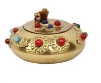 Halowishes Pure Brass Gemstone Handicraft Gift Gold Brass Ashtray (Pack Of 1)