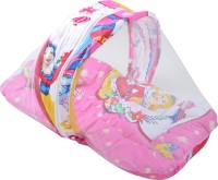 ROYAL SHRI OM BABY15 MOSQUITO NET BABY SLEEPING BED,PILOW WITH MOSQUITO NET PRINTED (COTTON, PINK)