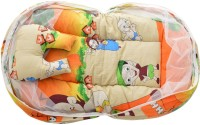 ROYAL SHRI OM BABY MOSQUITO NET BABY SLEEPING BED,PILOW WITH MOSQUITO NET PRINTED (COTTON, ORANGE)