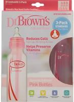 Baby Bucket Dr Browns Natural Flow Standard PINK 8oz Bottle- 3 Pack - 250 Ml (Pink)