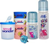 Small Wonder Pure Blue Set Of 5 - Pure 125ml & 250ml Blue PP Bottle, 300ml Polypropylene Feeding Glasses Set Of 3, LSR Soother Blue, 300ml Polypropylene Milk Powder Dispenser Blue (Blue)