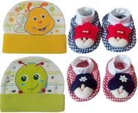 Kerokid Cutee Bee Little Worm Caps & Dark Checks Face Booties Baby Care Combo Set (Multicolor)