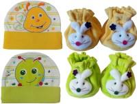 Kerokid Cutee Bee Little Worm Caps & B12 Face Booties Baby Care Combo Set (Multicolor)
