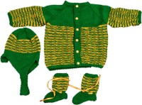 Maple Krafts Hand Knitted Sweater, Baby Girls, Baby Boys Combo (Green, Yellow)