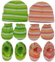 Kerokid Lining Green & Orange Mittens Booties Caps Baby Care Combo Set (Orange, Green)
