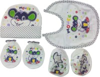 Kerokid Cute Mouse Mittens Booties Cap Bib Baby Care Combo Set (Multicolor)