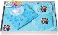 Flo-Rite New Just Born Infant Baby Kids Wear Happy Bear Hosiery 5pcs Gift Set (Blue)
