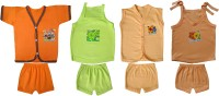 Jack & Ginni New Born Baby Clothes (Orange, Green, Cream, Brown)