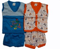 CEFFON New Born Baby Cotton Clothes Blue Orange (Multicolour)