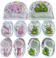 Kerokid Pink Bear & Green Frog Mittens Booties Caps Baby Care Combo Set (Multicolor)