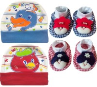 Kerokid Cutee Duck Owl Flower Cotton Caps & Dark Checks Face Booties Baby Care Combo Set (Multicolor)