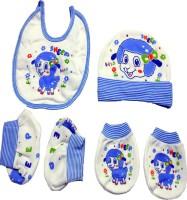 BornBabyKids Mittens Booties Cap Bib Baby Care Combo Set (Multicolor)