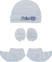 Buds N Blossoms Mittens Booties Cap Combo Set (Blue, White)