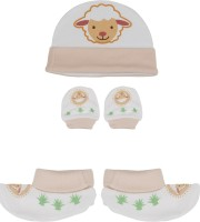 Buds N Blossoms Mittens Booties Cap Combo Set (Orange, White)