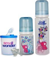 Small Wonder Pure Blue Set Of 4 - Bpa Free Pure Blue 125ml & 250ml Pp Bottle, 300ml Powder Dispenser Blue & Orthodontic Lsr Pacifier (Blue)