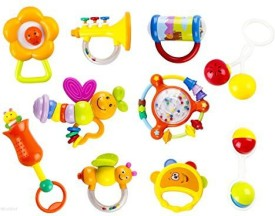 WolVol 10 Piece Baby Rattle Toy Gift Set with Mirror, Bells & Instruments Rattle
