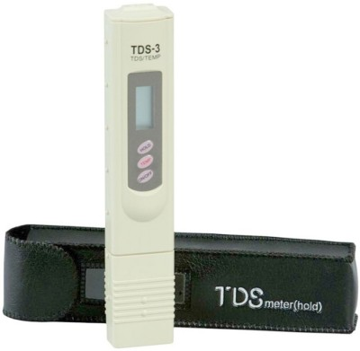 RO Service TDS Meter / Water Purity Tester with Leather Carry Case & Temperature Display Bath Thermometer (Ivory)