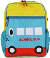 Bleu School Kids Bag - 14 Inches - School Bus Shape Boys Girls Bag - 24 14 L Backpack (Sea Blue & Yellow)