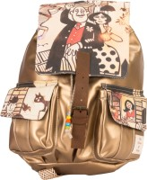 The House Of Tara Golden Faux Leather And Canvas Caricature Bag 16 L Medium Backpack Multicolor, Size - 350
