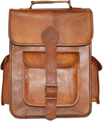 Urban Dezire Genuine Leather Vintage Style 21 L Laptop Backpack Brown, Size - 381