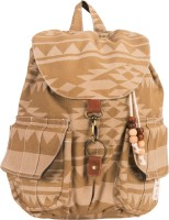 The House Of Tara Canvas Ikkat Print Bag 16 L Medium Backpack Khaki, Size - 350