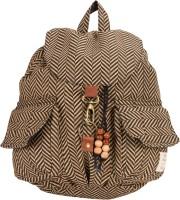 The House Of Tara Canvas Herringbone Print Bag 16 L Medium Backpack Brown, Size - 350