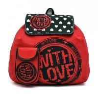 Pick Pocket Love Canvas 2.5 L Medium Backpack (Red, Size - 440)
