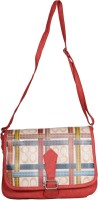 May Red Printed Canvas Stylish Women's Handbag Sling Bag (Red, Multicolor, 10 L)