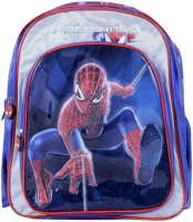 Spiderman Silver Spider Waterproof Backpack (Blue, 14 Inch)