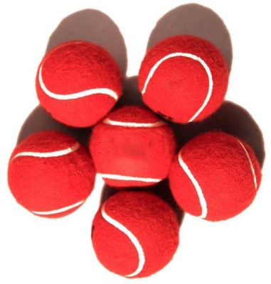 Facto Power Pack Of 6 Cricket Tennis Ball -   Size: 40 Mm,  Diameter: 6.5 Cm (Pack Of 6, Red)