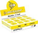 Dunlop Pro 2 Dot Squash Ball - Pack Of 12, Black, Yellow