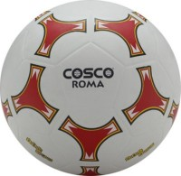 COSCO ROMA Football -   Size: 5,  Diameter: 22 Cm (Pack Of 1, White, Orange)