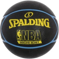 Spalding Highlight Basketball -   Size: 7,  Diameter: 30 Cm (Pack Of 1, Black, Yellow, Blue)